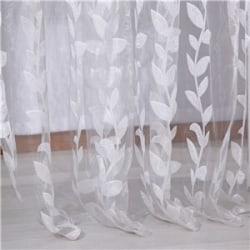 New Romantic Leaf Printed Door Window Curtain Tulle Valances White