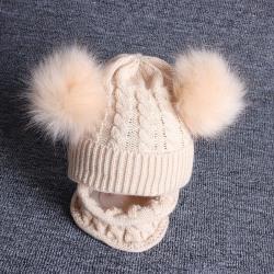 Nyfödda baby pojkar mössa flickor stickad hatt halsduk med pompom