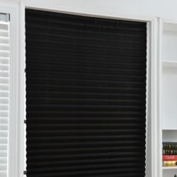 Non-woven Shade Pleated Curtain Cordless Light Filtering Pleated black 90*180cm