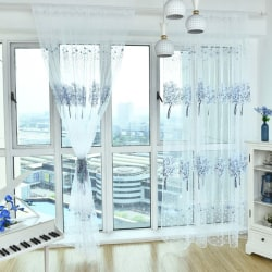 Pastoral Floral Printed 5 Color For Kitchen Living room Curtain blue 1*2