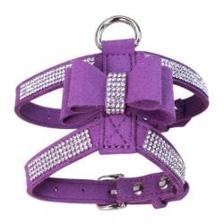 Pet Dog Bowknot Collar Bling Rhinestone Harness Necklace Collar