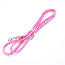 Pet Dog Cat Smooth PU Leather Leash Long Dog Walker Lead Rope Pink One Size