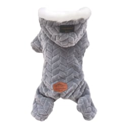 Pet Dog Clothes Winter Warm Four Legs Jumpsuit Teddy Costume gray M