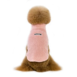 Pet Dogs Cute Warm Casual Coats Solid Warm Coat with High Collar Pink L