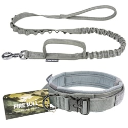 Pet training collar pets tactical collars lead rope outdoor grey S