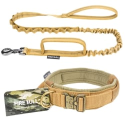 Pet training collar pets tactical collars lead rope outdoor khaki L