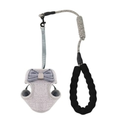 Pet Vest Harness Cat Bow-knot Anti-breakaway Adjustable Leash Gray