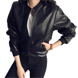 PU Leather Jacket Long Sleeved Coat Zipper Motorcycle Jackets black one size