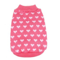 Puppy Sweater Pet Clothes Warm Knit Tops Clothing Puppy Jacket Pink XS