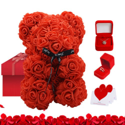 Romantic Valentine Day Bear Rose Flowers Gift Box Decoration red red