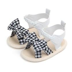 Sandals for Girls Baby Shoes Newborn Summer Cotton Lattice Shoe black 0-6 months