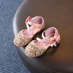 Sequin Bow Sandals Children Sandals Princess Sandals Shoes pink 24