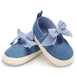 Shoes Baby Girls Striped Bow Girls Princess Soft Soled Anti-Slip blue 0-6 months