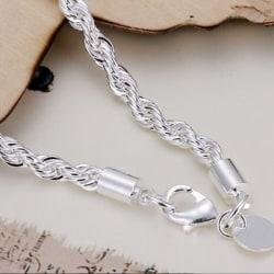 Silver Plated Twist-linked Bracelet Chain Cuff Bangle Lady white