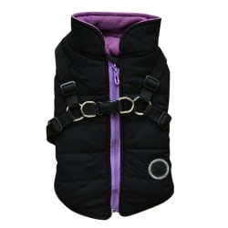 Small Dog Vest Harness Pet Winter 2 In 1 Outfit Padded Jacket black L