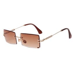 Small Rectangle Sunglasses Women Rimless Square Sun Glasses brown