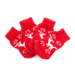 Snowman Elk Pet Dog Socks Winter Warm Knitted Cotton Cat red milu deer s