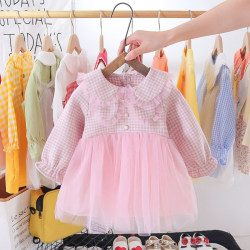 Spring And Autumn Girls' Plaid Dress pink 2-3Y
