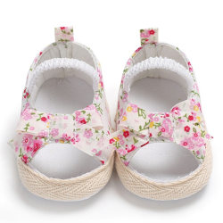 Summer Baby Sandals Cotton Breathable Floral Print Kid Shoes Pink L