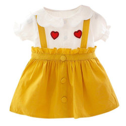 Summer Clothing Short Sleeve Princess Dress Party Clothes yellow 1-2T