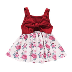 Summer Girls Stitching Sling Floral Dress Baby Princess Dress red 80