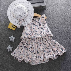 Summer Newborn  Sundress Hats 6PCS Clothing Set Sunsuit white 3T