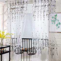 Summer Style Plum Flower Curtains for Living Room Window light grey 2*1.4