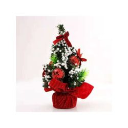 Tabletop Mini Artificial Christmas Tree With Ribbon Bow And Ball Red 20cm