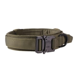 Tactical Dog Collar Adjustable Military Control Handle Training green black L