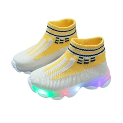 Toddler Indoor Sock LED Shoes Newborn Baby Sneakers Funny shoes yellow 25
