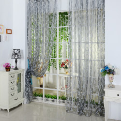 Top Selling For Chic Leaf Type Tulle Voile Door Window Curtain light grey