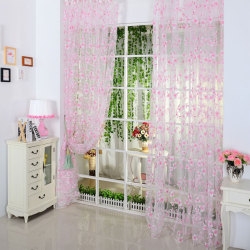 Top Selling For Chic Leaf Type Tulle Voile Door Window Curtain pink
