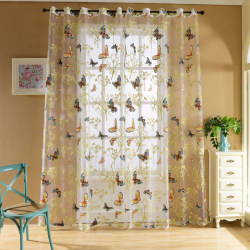 Tropical Floral Print Sheer Curtains Printed Sheer Voile Curtain A 100x270cm Perforate