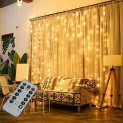 USB LED Curtain String Lights Flash Fairy Garland Remote Control warm color 3*3m