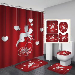 Valentine Day 3D Shower Curtain 4-piece Set For Home Hotel a