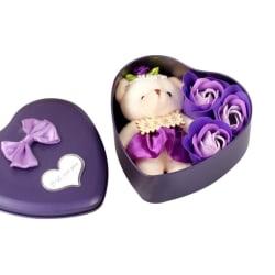 Valentine Gift Rose Hartvorm Met Beer Bad Body Zeep purple 3pcs