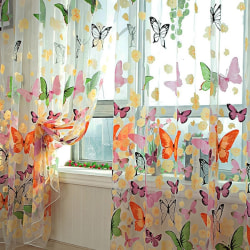 Washable Butterfly Printed Tulle Window Curtains multi