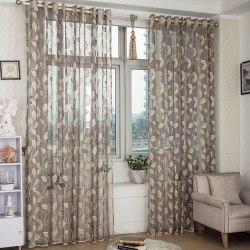 Window Screening Velor Leaves Natural Modern Living Room Curtain grey 3*2.6