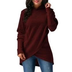 Women Asymmetric Hem Wrap Hoodie Sweatshirt Outwear Tops red M