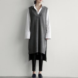 Women Cashmere Knit Pullovers Vest Autumn Winter Sweater Vests gray one size