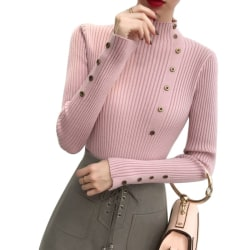 Women Elegant Long Sleeve Turtleneck Bottoming Slim Sweater pink one size
