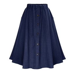 Women harajuku high waist A-Line Single Breasted denim Skirt black One Size