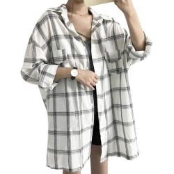 Women Long Loose Falling Shoulder Long Sleeve Lapel Plaid Shirt white M