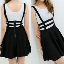 Women Lovely Suspender Braces Hollow Out Skater Mini dress black One Size