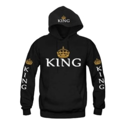 Women Men Pullovers King Queen Printed Hoodies Sweatshirt black men XL
