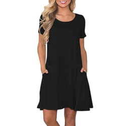 Women Pocket Short Sleeve Sleepdress Loose Night Dress black L