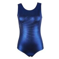 Women Sleeveless Radium Bright Spot Ballet Gymnastics Blue M