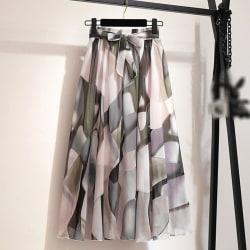 Women Summer Chiffon Skirt Female Boho Sun High Waist Skirt c One Size