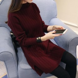 Women Turtleneck Solid Knitted Warm Long Sweater Autumn Winter wine red M