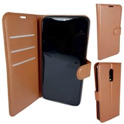 2-i-1 Plånbok Brun Läderfodral till OnePlus 7